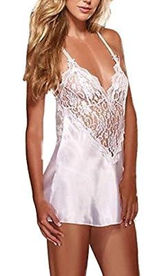 Ladies Ivory/Cream Sexy Satin Soft & Lace Nightdress Nightie Slip Negligee Size 12-14