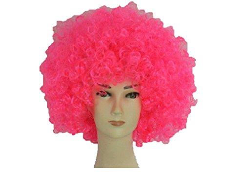 parrucca da clown per uomini e donne unisex Circo Divertente Festa in maschera Afro Stag Do Joker party (Rosa caldo)
