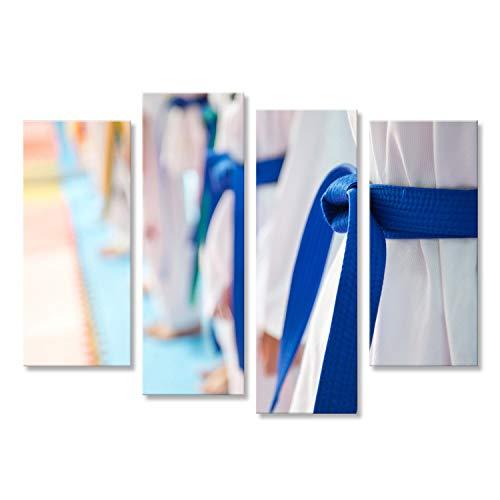 islandburner Bild Bilder auf Leinwand Leute im Kampfkunsttraining trainierend Taekwondo. Wandbild, Poster, Leinwandbild IBR-4erP