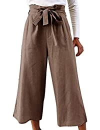 Cikuso Pantalones De Cintura Alta De Pierna Ancha Informal De Mujer Con  Cinturon Pantalones Capri Hasta 2c4cd1ade48