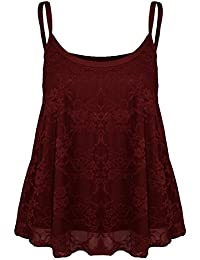 MIXLOT Neue Frauen Full Floral Lace Mesh Cami Flared Sexy Sommer Weste Top