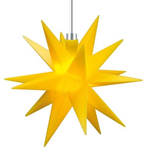 3D LED Stern gelb Ø 12 cm Weihnachtsstern Ministern Außen Stern klein Leuchtstern Fenster Deko für innen 5m Kabel von Dekowelt (Gelb)