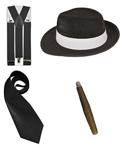 LS Glamour Room Kostümset Gangster aus den 1920erJahren, Schwarz/Weiß/Rot Melone, Krawatte, Hosenträgern und Fake-Zigarre Gr. Einheitsgröße, Schwarz Set