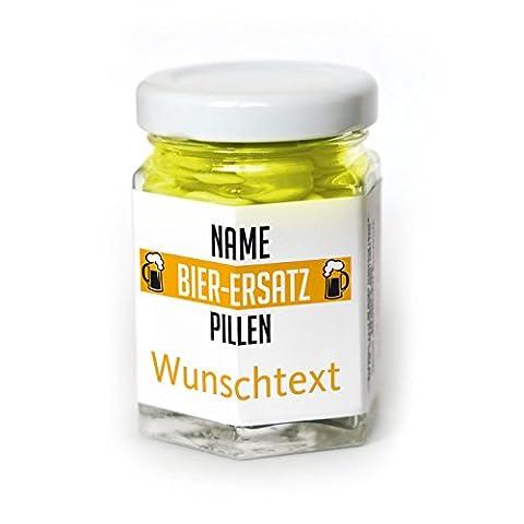 Lustige Apotheke Bier-Ersatz Pillen 40g Traubenzuckerlinsen mit Namen und Wunschtext als Scherzgeschenk
