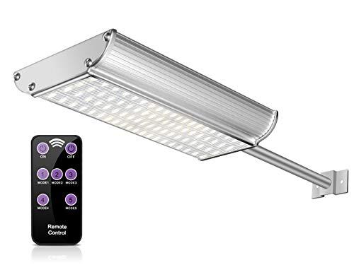 ECHTPower 70 LED Solarleuchte Solarlampe Garten Bewegungsmelder Wand Außen Leuchte Beleuchtung Licht, IP65 wasserdicht weiß Alu, 5 Modi