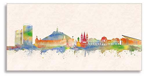 Kunst Leinwand-druck - (Bonner Skyline Kunst Druck auf Leinwand - Skyline Bonn (div. Größen) Bild fertig auf Keilrahmen Graffiti Art Gemälde Kunstdrucke/Wandbild/fertig zum aufhängen)