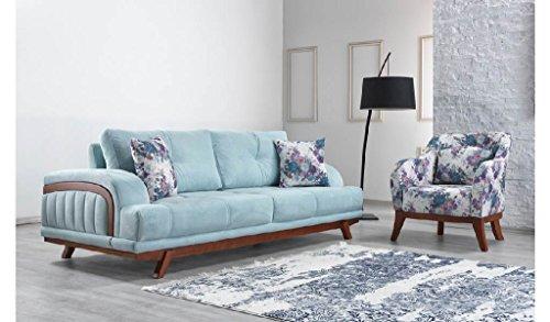 Casa Padrino Designer Wohnzimmer 3er Sofa Seine Hellblau - Hotel Möbel