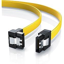 CSL - 0,5m S-ATA III Kabel | Flachkabel Premium HDD / SSD Datenkabel | 1x Stecker gerade zu 1x Stecker 90° | 1,5 GBs / 3GBs / 6GBs | schnelle, sichere und störungsfreie Datenübertragung | Verriegelungssystem für bessere Zugfestigkeit | abwärtskompatibel