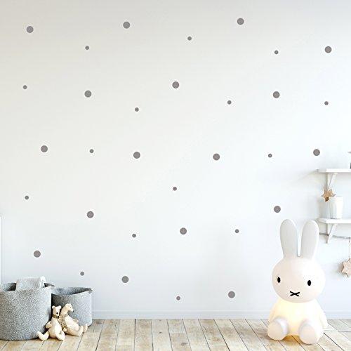 """Wandtattoo """"Punkte Set"""" groß und klein Aufkleber Wanddeko Wandgestaltung insg. 137 Stück in grau M2246 ilka parey wandtattoo-welt®"""