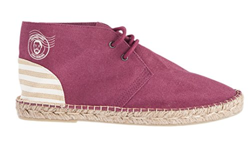 Casimiro Perez , Desert boot Espadrilles Terceira collection Burgundy with beige striped back heel patch