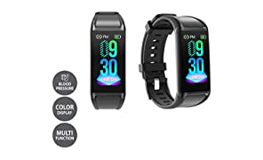 LCARE Mambo Fitness Band Pedometer, HR and BP, Sleep Tracker, Smart Activity Tracker Call Alert for Android and iPhone (Black)