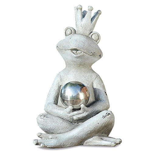 Ganze Haus Welten der Yogi Frosch Prinz Garten Statue, Mirror Ball, sitzen, rustikal grau, Stein Strukturierte Patina, handgegossen Polyresin, 63/4L x 41/4W X 7H Zoll, wetterbeständig, von -