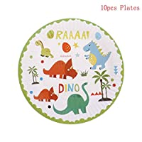 Ongwish 10Pcs/pack Paper Plates, Dinosaur Theme Paper Cake Plates Bowls, Disposable Paper Plates Dinosaur Tableware Paper Dishes Birthday Party Decor
