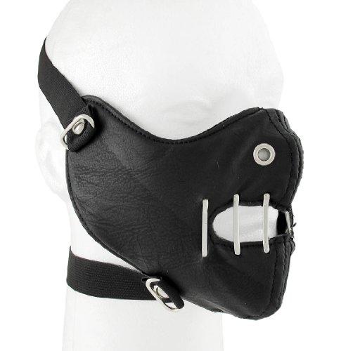 Schneemobil Kostüm - Gothic schwarz Vinyl Hälfte Gesicht Maske Gesichtsmaske Industrie