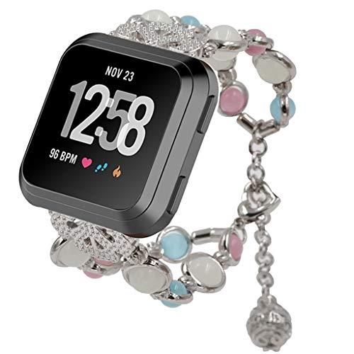 BZLine für Fitbit Versa Watch Armband, Handgefertigt Nacht Leuchtend Einstellbar Armband Strap Band Ersatz Uhrenarmband für Fitbit Versa