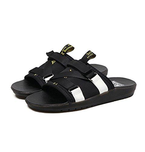 Damen Pantoletten Dicke Sohle Anti-Rutsche Tragen Retro Römische Stil Freizeit Komfort Strandschuhe Schwarz,Weiß