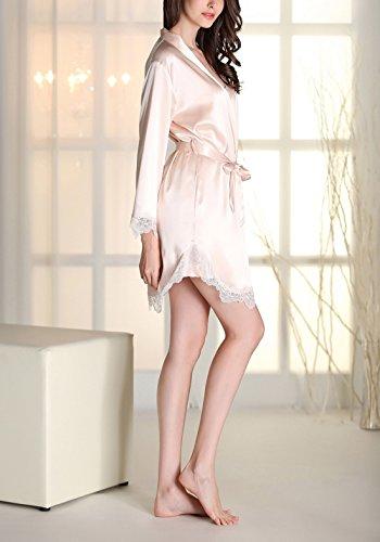 Aivtalk Femme Ensemble de Pyjama 2Pcs Luxe Robe de Chambre à Bretelle Dentelle Col-V Peignoir Satin Longue Manche avec Ceinture (Taille FR: 34-40) - 4 Couleurs Champagne
