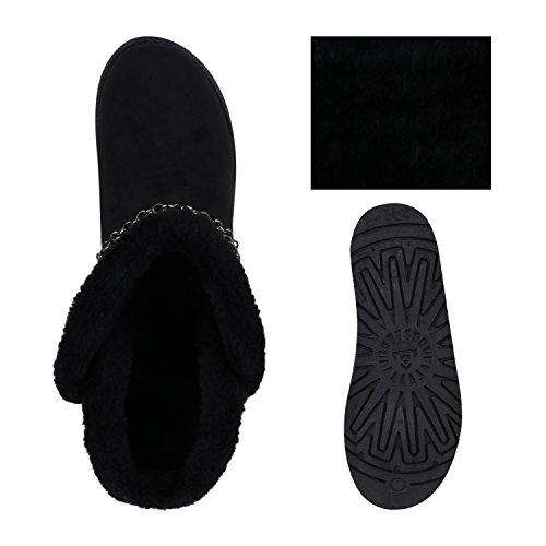 Warm Gefütterte Damen Schlupfstiefeletten Nieten Stiefeletten Schwarz