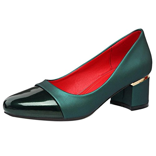 TAOFFEN Femme Doux Talon Moyen Epais Multicolore A Enfiler Chaussures basse Vert