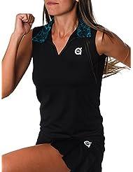 a40grados Sport & Style Puma Polo Manga Sisa de Tenis, Mujer, Negro / Azul, 40