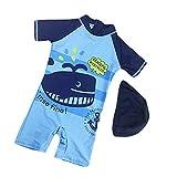 Baby Jungen Badeanzug Badehose UV-Schutz Einteiler BademodeSchwimmbekleidung mit Hut (Blau, M/ 85-95CM)