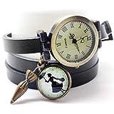montre bracelet en cuir noir, montre 3 tours de poignet, montre breloques et cabochon...