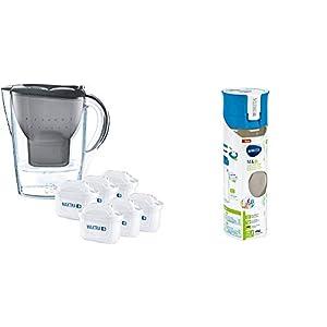 417V dNuRQL. SS300  - Brita Wasserfilter Marella graphitgrau inkl. 6 Maxtra+ Filterkartuschen, Filter Halbjahrespaket zur Reduzierung von Kalk, Chlor und geschmacksstörenden Stoffen im Wasser