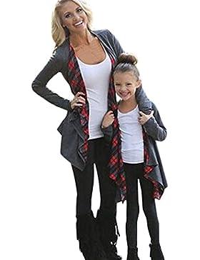 Internert Chaqueta de Cárdigan a cuadros vestir para padres e hijos