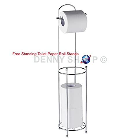 Stainless Steel Chrome Plated Free Standing Toilet Paper Roll Holder Wire frame Bathroom Tissue Holder Shelf 3 Roll storage