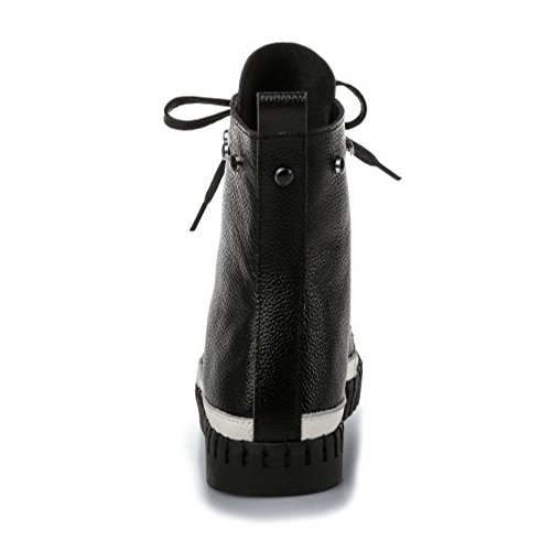 COOLCEPT Femmes Confort Plat Bottine Cheville A Lacets Cuir Souple Black