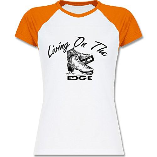 Shirtracer Wintersport - Living On The Edge - Zweifarbiges Baseballshirt/Raglan T-Shirt für Damen Weiß/Orange