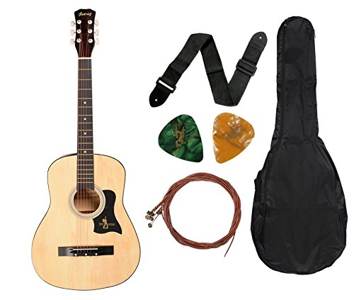 Juarez JRZ38C 6 Strings Acoustic Guitar 38 Inch Cutaway, Right Handed, Natural with Bag, Strings, Picks and Strap
