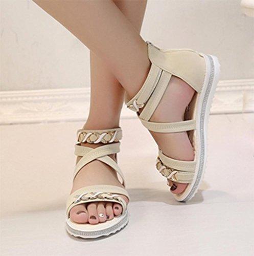 Après des sandales à bout ouvert sandales sandales tirette sauvages Xia Jiping étudiant occasionnel fond meters white