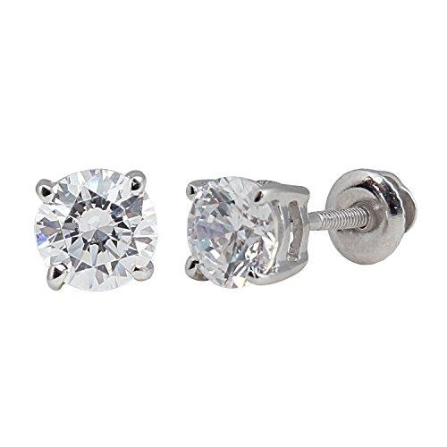 1 carat Brilliant Round Diamond Stud Earrings in 14Kt White or Yellow Gold,Screwbacks