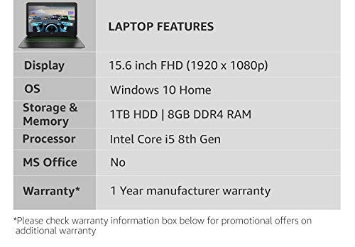 HP Pavilion Gaming Intel Core i5 8th Gen 15.6-inch Gaming FHD Laptop (8GB/1TB HDD/Windows 10 Home/4GB Graphics/Shadow Black/2.17 kg),bc406TX
