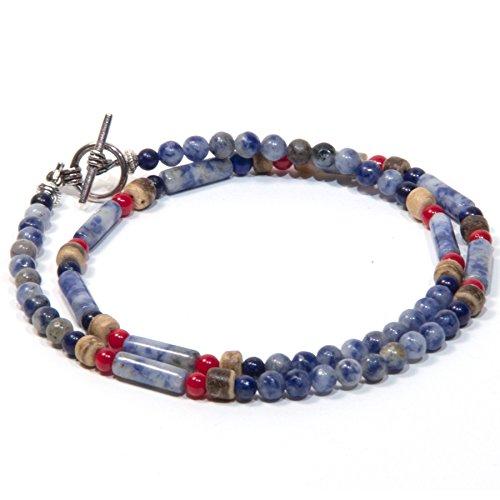 Surfer Halskette für Männer für Freund Blau-Rotes Boho Geschenk für Sie (Traditionelle Rocker Rote)