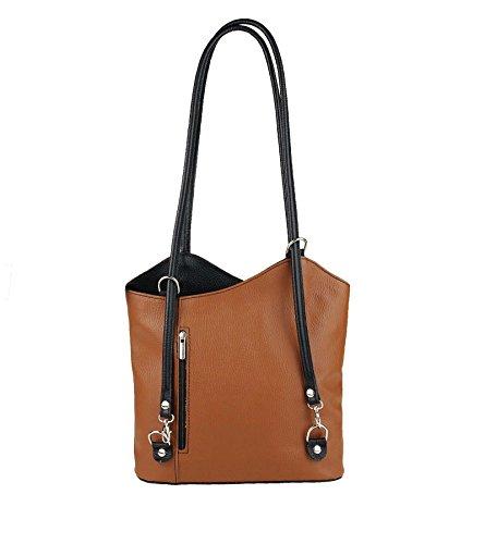 OBC Made in Italy Ledertasche Damentasche 2in1 Handtasche als Rucksack oder Umhängetasche/Schultertasche Tablet/Ipad mini bis ca. 10-12 Zoll 27x29x8 cm (BxHxT) (Dunkelblau (Lackleder)) Cognac-Schwarz