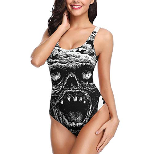 Swimming Costume for Women One Piece, Zombie Head Evil Dead Man Portrait Fiction Creature Scary Monster Graphic,Round Neck Swimsuit Beach SwimwearM (Evil Dead Girl Scary)