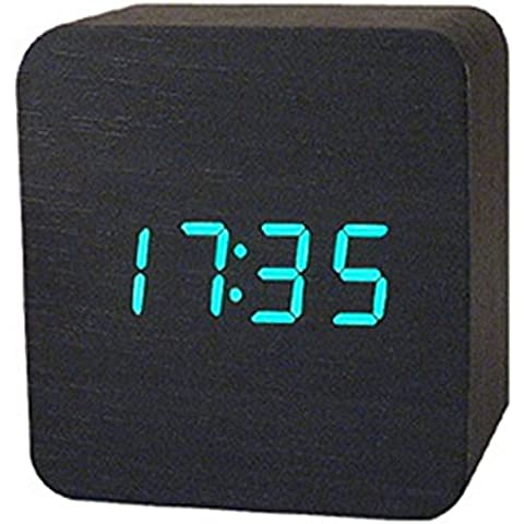 Haodasi USB Sound Control Wood Legna Cube Digital LED Desk Alarm Allarme Clock Orologio Thermometer Timer Black Wood Legna green light