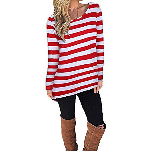 LANSKIRT Damen Casual Streifen Langarm Lose Bluse Weihnachts Pullover T-Shirt Tops (M, Rot)