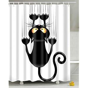 Leashy Cortina de Ducha Impermeable con impresión Divertida de Gatos, a Prueba de Moho, con Ganchos (Gato Negro, 150×180)