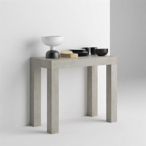 Mobilifiver tavolo consolle allungabile first, cemento, 90 x 45 x 75 cm, nobilitato/alluminio, made in italy, disponibile in vari colori