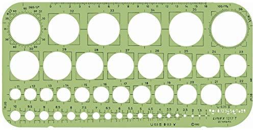 Linex Kreisschablone mit Tangentialquadraten Winkelmesser 45 1-36 mm Kreise 260 x 130 mm