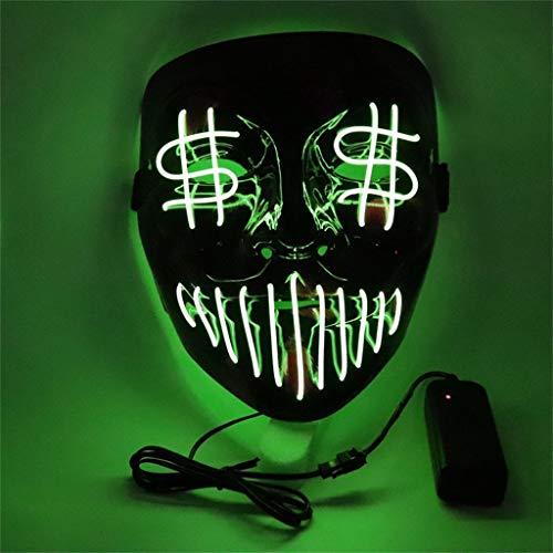 xue binghualoll Geld Auge Kaltlicht-Horrormaske,LED-Leuchtmaske,Halloween LED Leuchtmaske für Festival Cosplay Kostüm Masquerade Parties,LED Leuchtmaske EL kaltes Licht Horrormaske - Anspruchsvolle Katze Kostüm