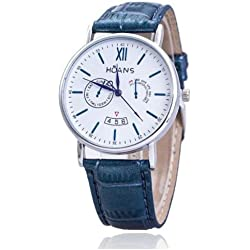 Men Wrist Watches - HUANS Men Rome digital Article Leather Band Quartz Wrist Watches Blue Band+Silver Dial