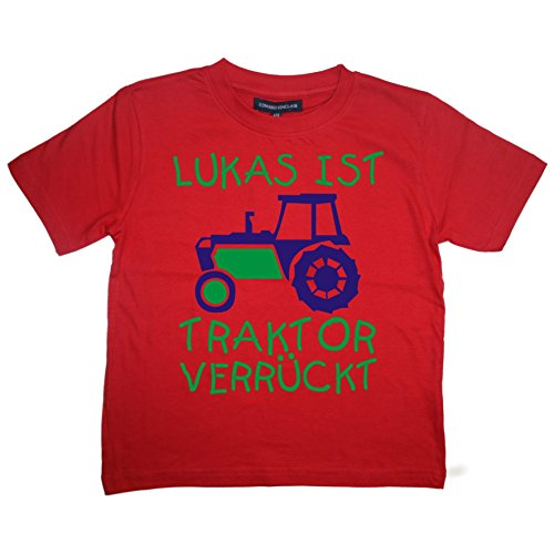 Personalisierte kinder t-shirt Rot 86-92 ''TRAKTOR VERRÜCKT MIT NAMEN' with Royal Blue & Green print (Blue T-shirt Kleinkind Royal)