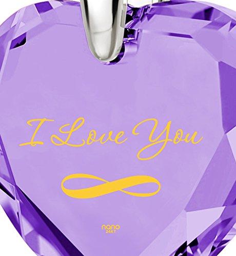 Pendentif Coeur - Bijoux Romantique en Argent 925 avec I Love You et le symbole de l'infini inscrits à l'Or 24ct sur un Zircon Cubique en Forme de Coeur, 45cm - Bijoux Nano Violet Clair