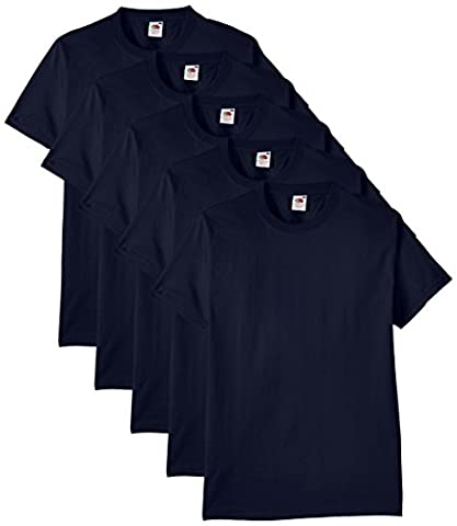 Fruit of the Loom Men's Heavy Cotton 5 Pack Regular Fit Round Collar Short Sleeve T-Shirt, Navy Blue,