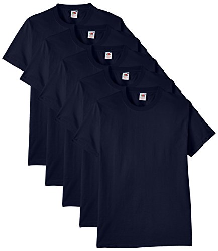 Fruit of the Loom Herren Regular Fit T-Shirt Heavy Cotton Tee Shirt 5 pack, Blau (Navy), L