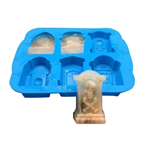 spespo Ice Cube Maker, Silikon Ice Cube Tabletts mit Deckel erleichtert Skull, Spider Grabstein 3D Ice Form für Whiskey, Cocktails und anderen Getränken Blue Tombstone